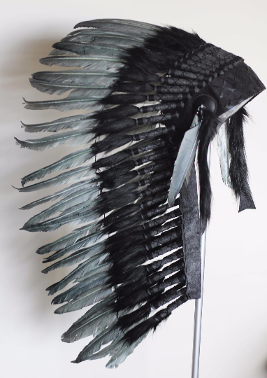 Y77 - Medium  Grey Indian Headdress, native american Style warbonnet.