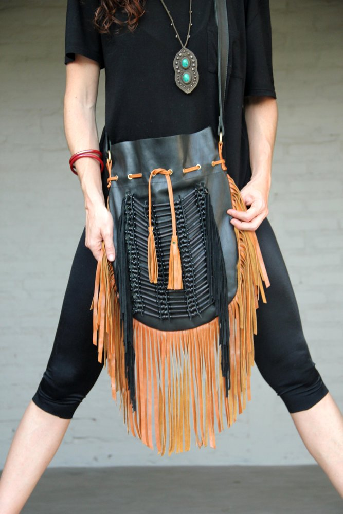 N45G-  Big Fringe leather bag, Indian leather Handbag, Native American Style bag. Crossbody bag