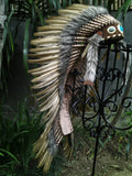 PRICE REDUCED Z30 Extra Large Brown Feather Headdress (43 inch long ), Native American Style