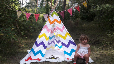Big Teepee Tent Colorful . Tipi Tent. 5 POLES INCLUDED
