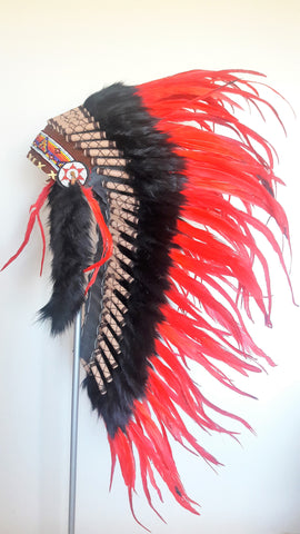 Y01 - Medium Red Feather Headdress / Native American Style Warbonnet (36 inch long )