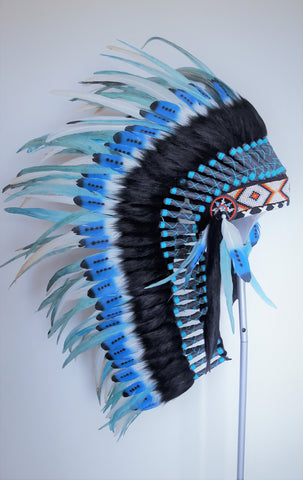 Y110 Medium Indian Double Feather blue Headdress (36 inch long )