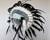 X15 Feather Headdress White and green headband with Natural colour feathers