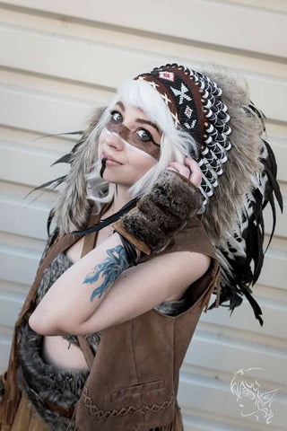 Z70 - Extra Large Indian black and white double Feather Headdress (43 inch long)
