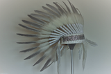 X43 - Silver Feather headdress Indian Style / warbonnet white feathers (30 inch / 75 cm)