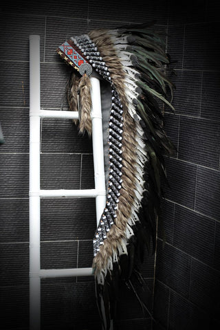 PRICE REDUCED - Z70 - Extra Large Indian black and white double Feather Headdress (43 inch long )