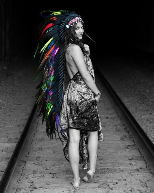 Extra Large Colorful Feather Headdress. Rainbow headdress