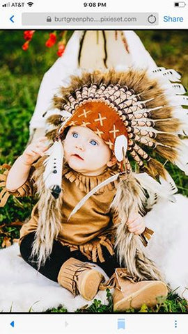 PRICE REDUCED - N14- For 9 to 18 month Toddler / Baby: black and white  Headdress for the little ones !,