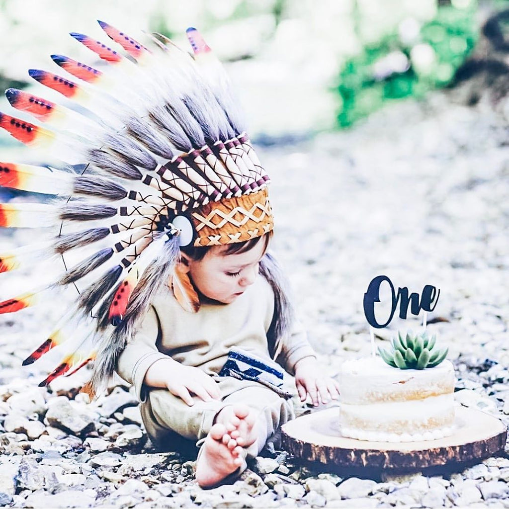 N01- For 9 to 18 month Toddler / Baby: three colors  Native American Style Indian Headdress for the little ones !