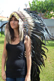 PRICE REDUCED . N92- Extra Large Natural color Feather Headdress (43 inch long )/ war bonnet.