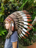 For Children: three colors brown Feather Headdress From 5 - 8 years old