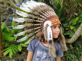 K12 From 5-8 years Kid / Child's: white and black swan feather Headdress 21 inch. – 53,34 cm.
