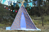tipi / tepee / tipi / teepee Tent Flowers Denim Motive . POLES NOT INCLUDED.