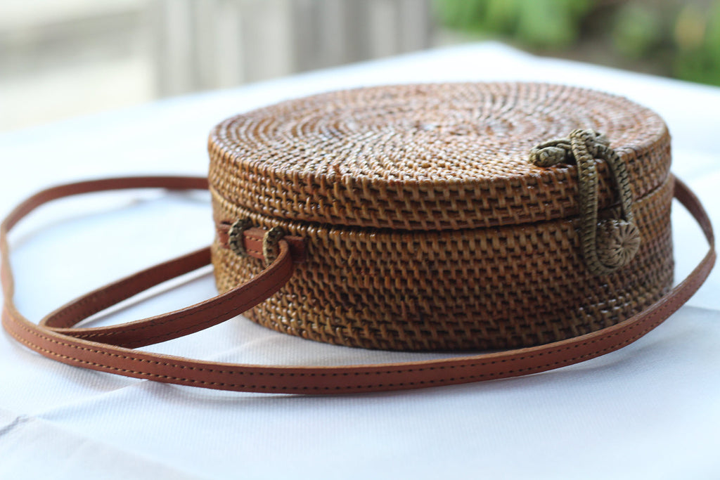 BAGBL- Handwoven Round Rattan Crossbody Bags for Women. Brown Natural  Color