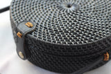 BAGB- Handwoven Round Rattan Crossbody Bags for Women. Black Color