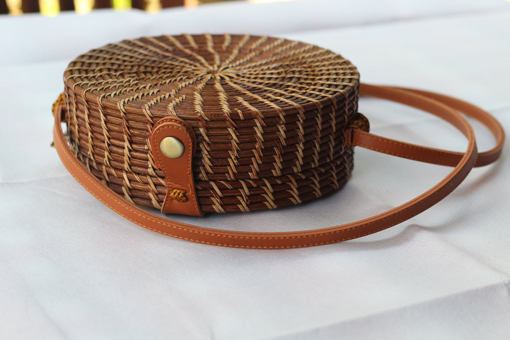 BAGBA- Handwoven Round Rattan Crossbody Bags for Women. Brown Antique Color