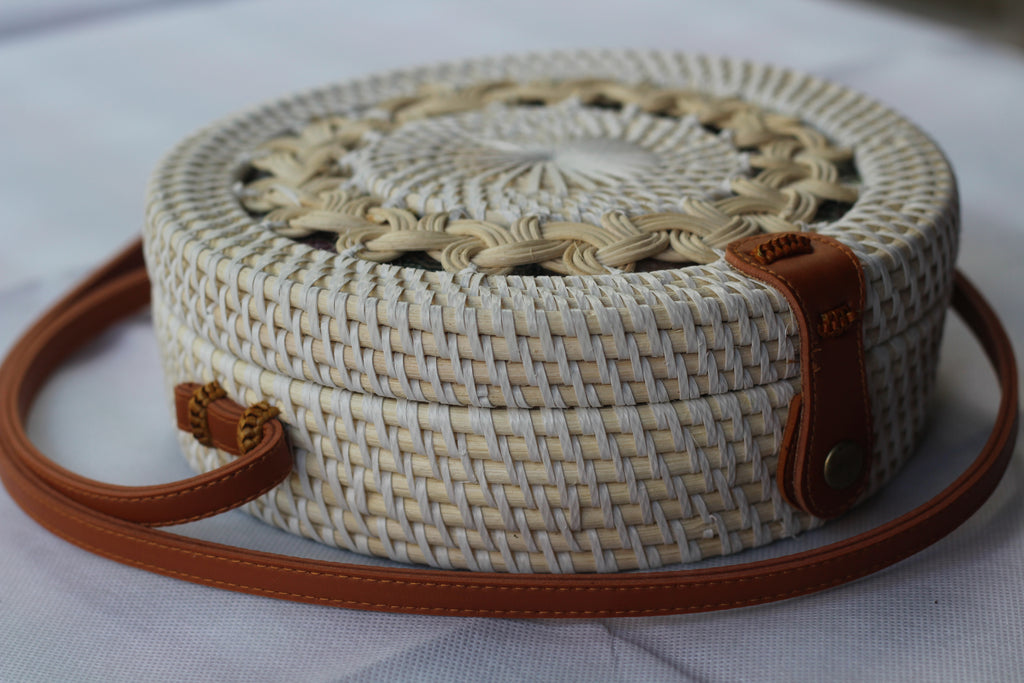 BAGWH- Handwoven Round Rattan Crossbody Bags for Women. black and Cream