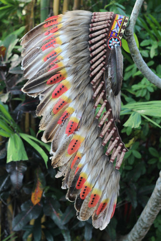 New Model Y35 - Medium Indian  Three colors  Feather Headdress   ( 36 inch long ).Native American Style