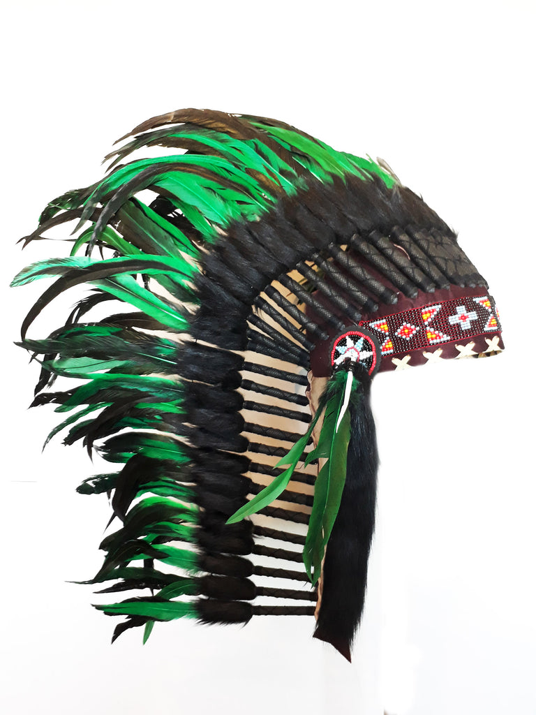 PRICE REDUCED M35 - Medium  Green  Feather Headdress (36  inch long )/ war bonnet