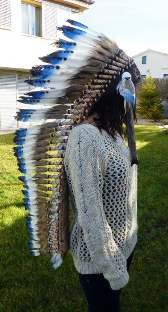 Z98 Extra Large Blue Feather Headdress (43 inch long ).