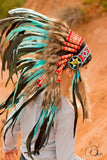 N33- From 5-8 years Kid / Child's: Indian turquoise and black feather Headdress 21 inch. – 53,34 cm.