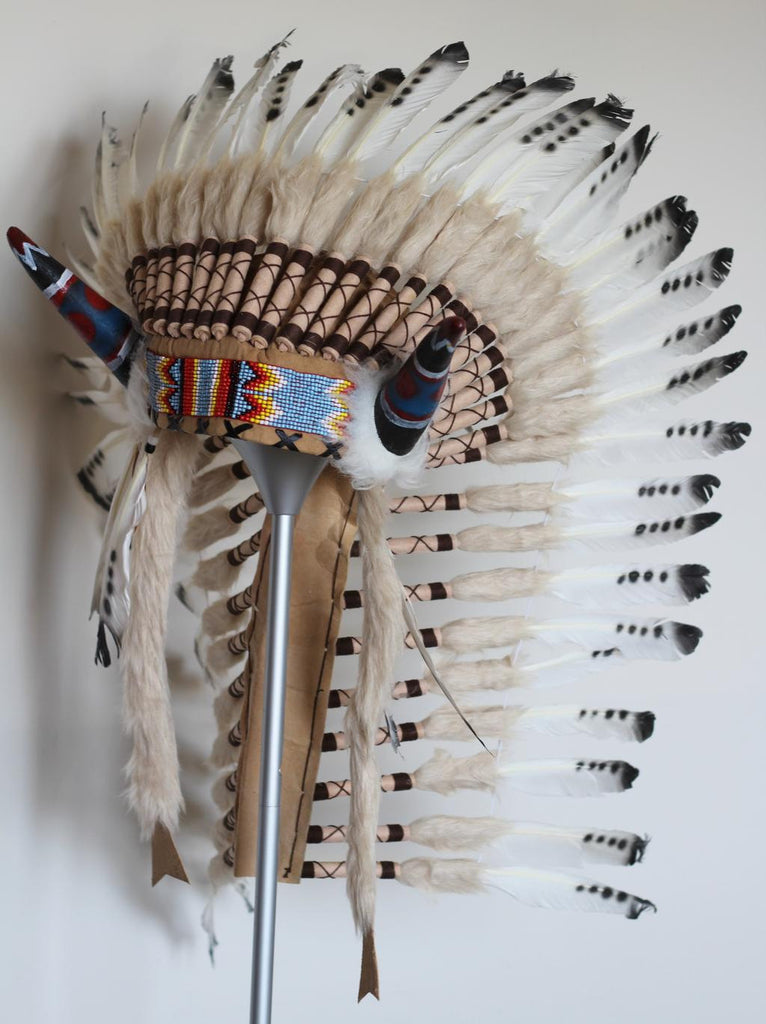 PRICE REDUCED Y29 Medium black and white Feather Headdress with horns ( 36inch long)