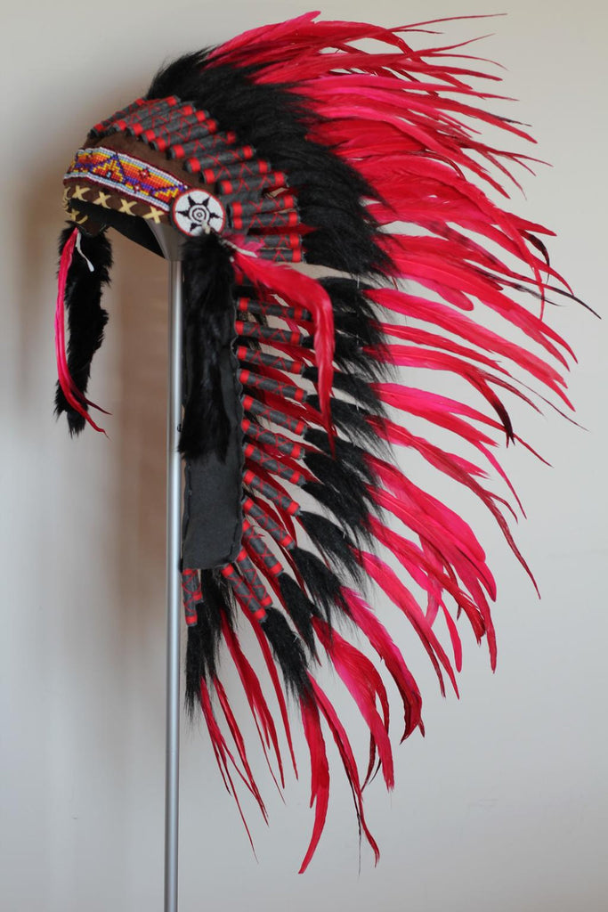 PRICE REDUCED - Y01 - Medium Red Feather Headdress / Native American Style Warbonnet (36 inch long )