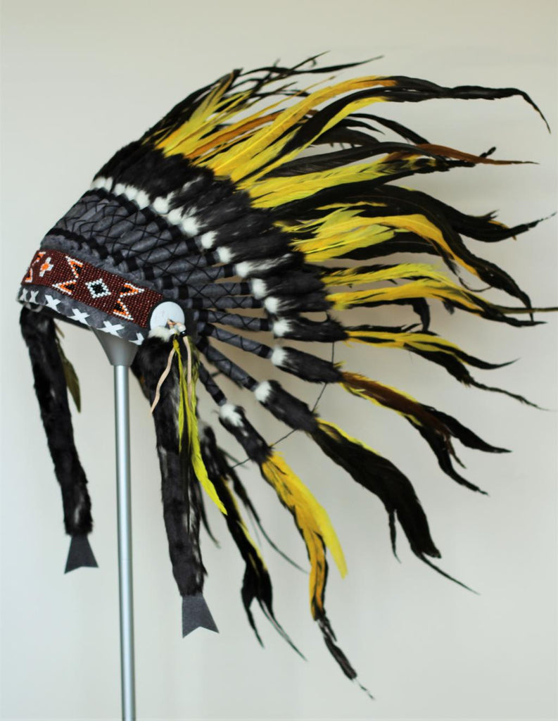 X42 Yellow  and black Feather Headdress..