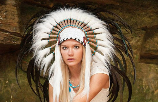 PRICE REDUCED X15 Feather Headdress White headband with Natural colour feathers