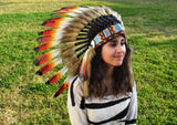 X04 Three colors Chief Feather Headdress /native american Style Warbonnet