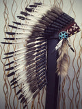 PRICE REDUCED N72- Medium White and Black Feather Headdress