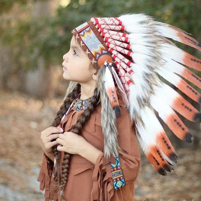 C20-For Children: three colors brown Feather Headdress From 5 - 8 years old