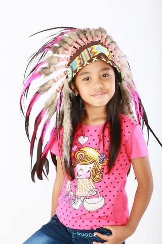 K14 From 5-8 years Kid / Child's: Pink and black rooster feather Headdress 21 inch. – 53,34 cm.