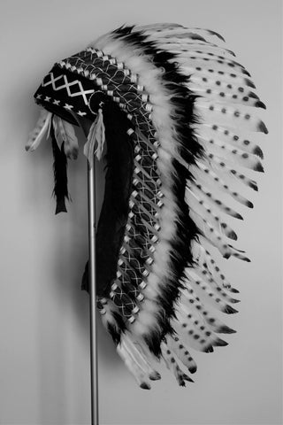 PRICE REDUCED Y02 Medium Indian White and Black Feather Headdress ( 36 inch long ). Native American Style. Warbonnet