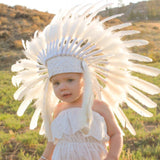 K06 From 5-8 years Kid / Child's: white swan  feather Headdress 21 inch. – 53,34 cm.