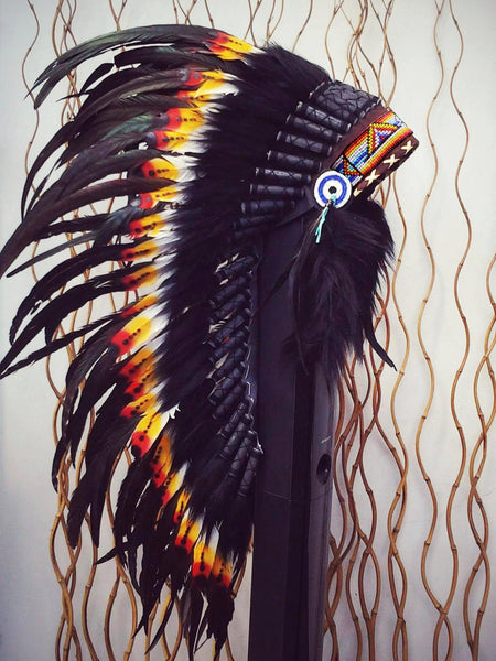 PRICE REDUCED Y11 Medium Indian Double Feather Headdress (36 inch long )
