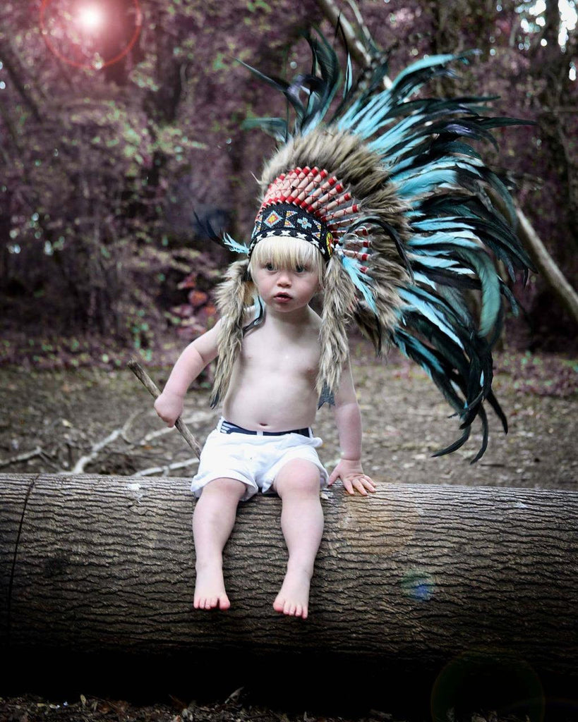 PRICE REDUCED - N03- For 9 to 18 month Toddler / Baby: TurquoiseFeather Headdress for the little ones !