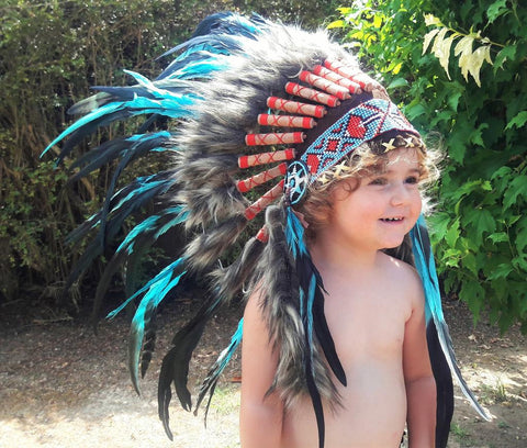 PRICE REDUCED - N12- From 2-5 years Kid / Child's: Turquoise Headdress 20,86 inch. – 53 cm