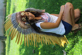 Z01 Price Reduced!! Extra Large Light Brown Feather Headdress (43 inch long )