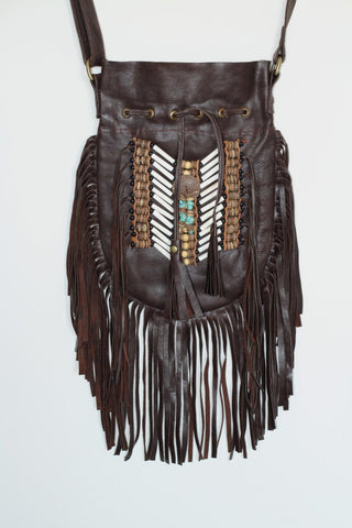 N47M- Medium Dark Brown Indian leather Handbag, Native American Style bag. Crossbody bag. Boho Bag