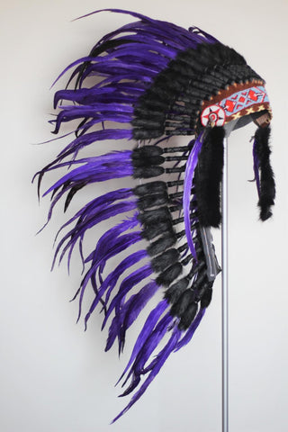 PRICE REDUCED . Y03 Medium Purple Indian Style Feather Headdress / Native American Style Warbonnet (36 inch long ).