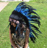 PRICE REDUCED Y06 Indian Native American Style , War bonnet , Medium Electric Blue Feather Headdress (36 inch long )..