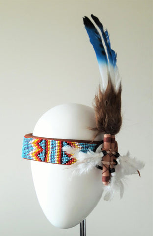 H9 - Beaded work  headband with large swan  blue  colour Feathers for childrens