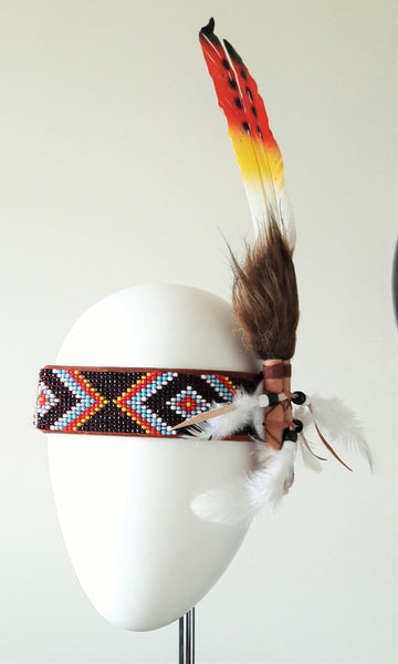 Headband three colors swan  Feathers and  feathers hanging