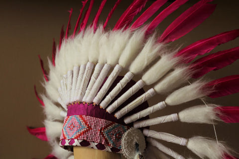 N23- From 5-8 years Kid / Child's: Pink feather Headdress 21 inch. – 53,34 cm.