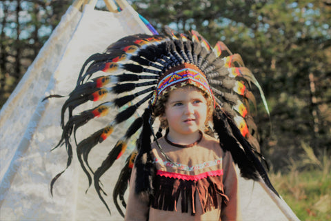 PRICE REDUCED - N15- From 2-5 years Kid / Child's: double feather Headdress 20,5 inch. – 52 cm