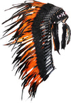PRICE REDUCED - Y23 -  Indian Native Medium  Orange  Feather Headdress (36  inch long )/ war bonnet.
