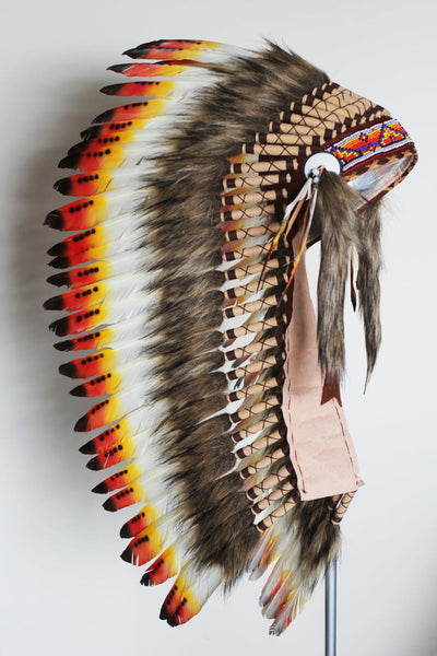 PRICE REDUCED  Y31 - Medium Indian  Three colors  Feather Headdress   ( 36 inch long ).Native American Style