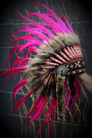 K19- For Children From 5 - 8 years: Indian full Pink Indian Feather headdress / Chief warbonnet