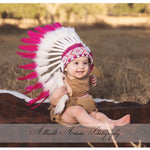 PRICE REDUCED - N10- For 9 to 18 month  Toddler / Baby: Pink Native American Style Indian Headdress for the little ones !